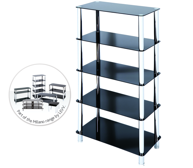 FU5TBCH - 5 Tier Black Glass and Chrome Shelving System.