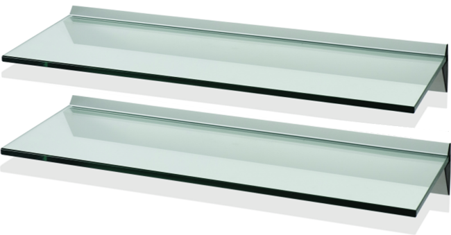 FU60S1C2 - LEVV Set of 2 Clear Glass & Aluminum Floating Shelf.