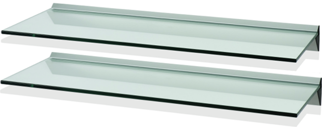FU80S1C2 - LEVV Set of 2 Clear Glass & Aluminum Floating Shelf.
